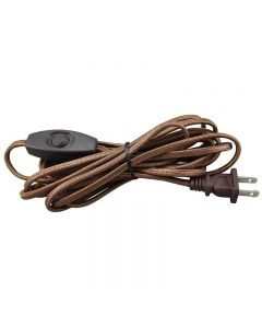 12 Foot Rayon Covered SPT-2 Cord Set with Square Euro Style Toggle Line Switch Installed - Brown