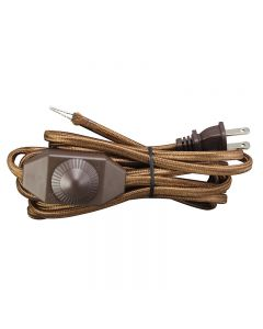 12 Foot Rayon Covered SPT Cord Set with In-Line Full Range Dimmer Switch - Brown