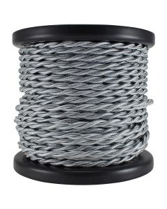 Rayon Covered Twist Wire - Silver 2-Wire 100 FT Spool