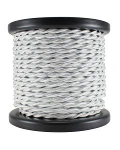 Rayon Covered Twist Wire - White 2-Wire 100 FT Spool