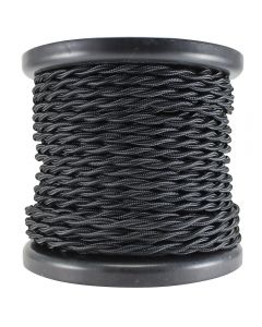 Rayon Covered Twist Wire - Black 2-Wire 100 FT Spool