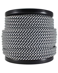 Rayon Covered SVT/2 Wire - 100 FT Spool - Black & White Houndstooth