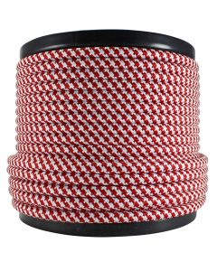 Rayon Covered SVT/2 Wire - 100 FT Spool - Red & White Houndstooth