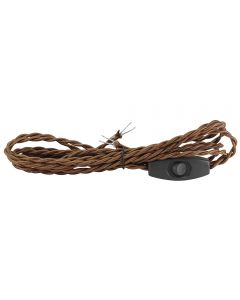 9 Foot 2-Wire Rayon Twist Cord Sets with Toggle Switch Installed - Brown