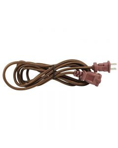 15 Foot SVT-2 Rayon Covered Extension Cords - Brown with Black Plug