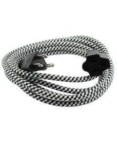 9 Foot SVT-3 Rayon Covered Extension Cords - Black & White Houndstooth with Black Plug