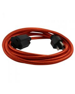 15 Foot SVT-3 Rayon Covered Extension Cords - Red with Black Plug