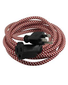 9 Foot SVT-3 Rayon Covered Extension Cords (16 Gauge) - Red & White Houndstooth with Black Plug