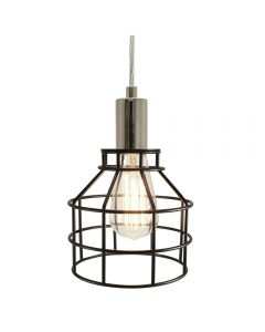 Jar Shaped Cage Pendant with Clear Wire and Black Cage - Nickel/Black