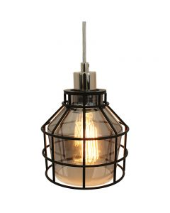 Jar Shaped Cage Pendant with Smoke Glass and  Clear Wire and Black Cage - Nickel/Black