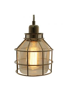 Jar Shaped Cage Pendant with Clear Glass and Clear Wire - Nickel