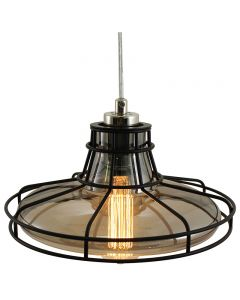 Railroad Shaped Cage Pendant with Smoke Glass and  Clear Wire and Black Cage - Nickel/Black