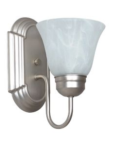 One Light Raceway Wall Sconce with Alabaster Glass - Satin Nickel