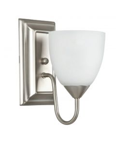 One Light Square Back Wall Sconce with Round Milk Glass - Satin Nickel
