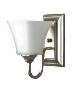 One Light Square Back Wall Sconce with Square Milk Glass - Satin Nickel