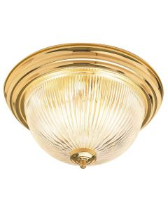 """11"""" Two Light Clear Prismatic Glass Flush Mount"""