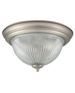 "11"" Two Light Clear Prismatic Glass Flush Mount - Satin Nickel"