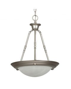 Two Light Alabaster Glass Bowl Pendant - Satin Nickel