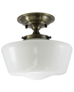 Semi-Flush Opal Glass Schoolhouse Fixture - Antique Brass
