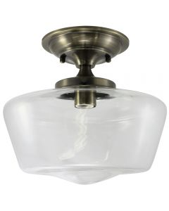 Semi-Flush Clear Glass Schoolhouse Fixture - Antique Brass