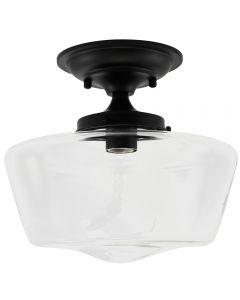 Semi-Flush Clear Glass Schoolhouse Fixture - Black