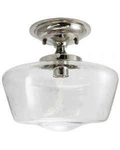 Semi-Flush Clear Seedy Glass Schoolhouse Fixture - Nickel