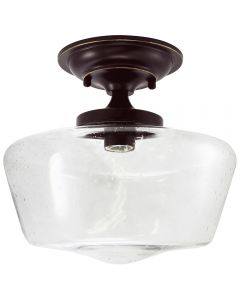 Semi-Flush Clear Seedy Glass Schoolhouse Fixture - Bronze