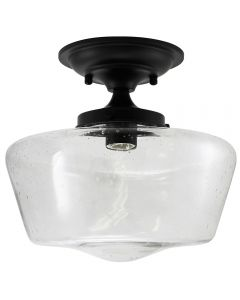 Semi-Flush Clear Seedy Glass Schoolhouse Fixture - Black