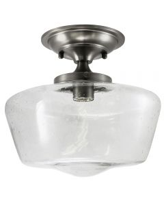 Semi-Flush Clear Seedy Glass Schoolhouse Fixture - Satin Nickel