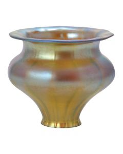 "5-1/2"" Aurene Glass Shades - Iridescent Gold Poppy"