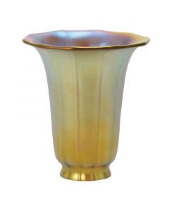 "5-1/2"" Aurene Glass Shades - Iridescent Gold Trumpet"