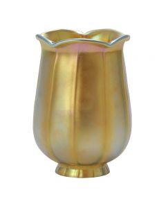 "5-1/2"" Aurene Glass Shades - Iridescent Gold Tulip"