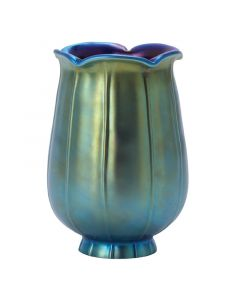 "5-1/2"" Aurene Glass Shades - Iridescent Blue Tulip"